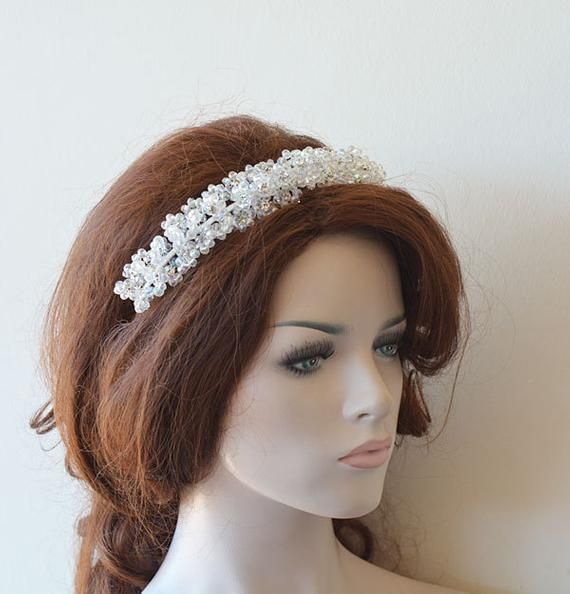 Bridal Hair Crown, Wedding Crystal Beads Tiara, Wedding Headband, Wedding Headpiece, Wedding Hair Headband, Wedding hair Accessory, Bride