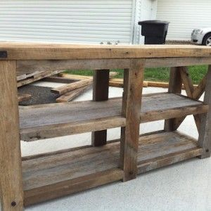 Exceptional Barn Wood X Console Table