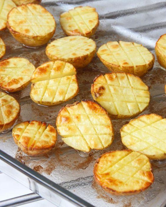 Rostade potatishalvor i ugn – Lindas Bakskola