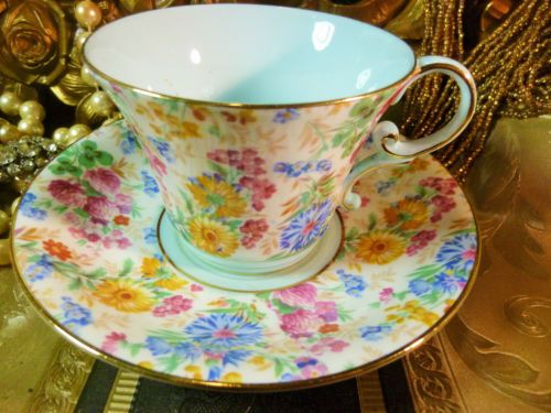 AYNSLEY-FANCY-TEA-CUP-AND-SAUCER-FLORAL-CHINTZ-SLIGHTLY-WAIST-SHAPE-GILT-c1920s