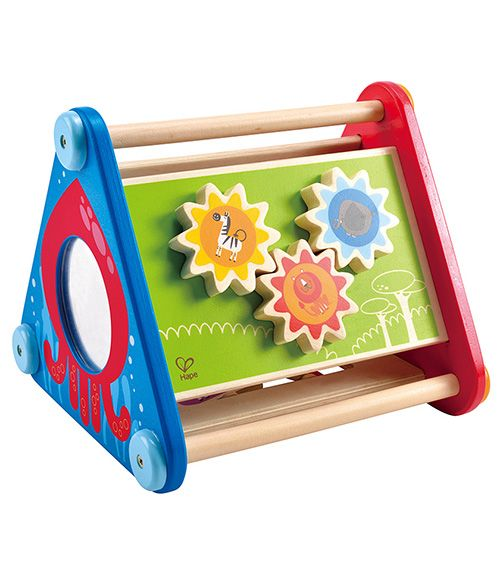 This 5-sided activity box has moving gears, balls, blocks, and a maze, plus colours, motion and a mirror to reflect your child's smile.