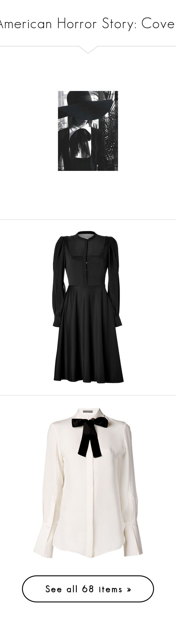 """""""American Horror Story: Coven"""" by bitbyacullen ❤ liked on Polyvore featuring dresses, vestidos, philosophy di alberta ferretti dress, puffy sleeve dress, glamorous dresses, sheer long sleeve dress, long puff sleeve dress, tops, blouses and shirts"""