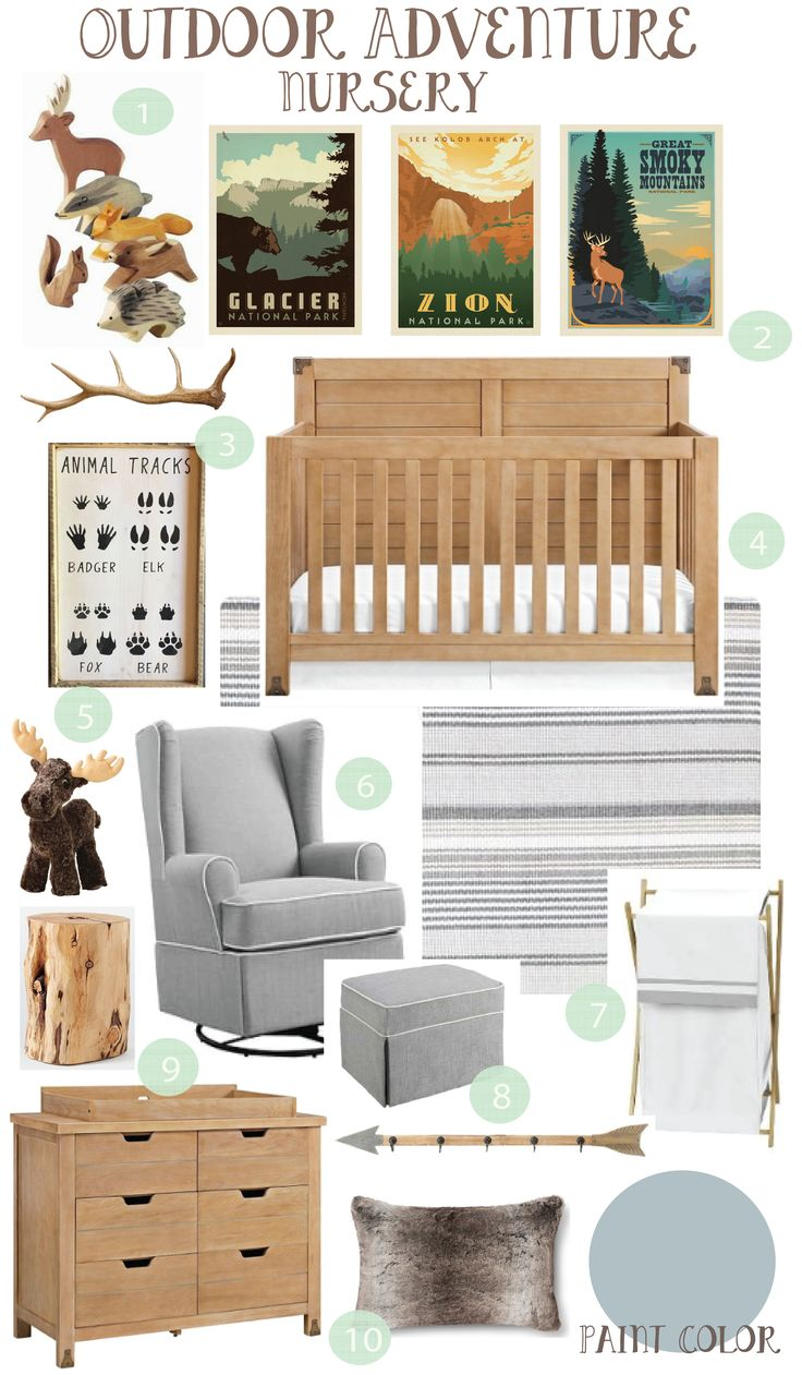 Understated woodland nursery. Outdoor Adventure Nursery: Inspiration Board http://www.pinkslipinspiration.com/newsite/outdoor-adventure-nursery-inspiration-board/ rustic outdoor inspired nursery board