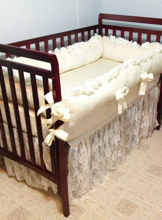 "Ivory Lace ""Royal"" Baby Crib Bedding Set - Minky Backed Bumpers - Ruffled Lace Crib Skirt - Cotton Crib Sheet~~OMGGGG I LOVE this!!"