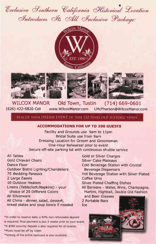 [Opening 2014 Late Summer/ Fall] Wilcox Manor - Old Town, Tustin, CA Venue Information