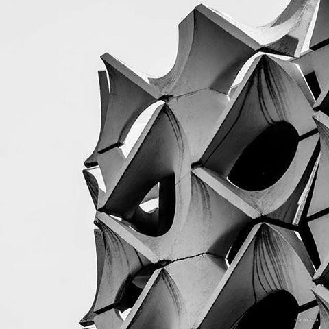 socialistmodernism:  Stadthalle Chemnitz, (facade detail) Chemnitz (formerly Karl-Marx Stadt), Germany built between 1969 and 1974, architect Rudolf White, Hubert Schiefelbein © BACU #socialistmodernism #socheritage