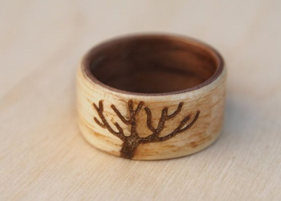 Bentwood ring with tree shaped stone inlay Beech and by MoonLoops