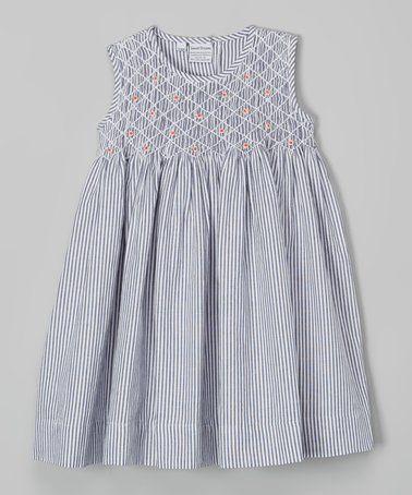 Charcoal Stripe Queen Smocked Dress - Infant #zulily #zulilyfinds