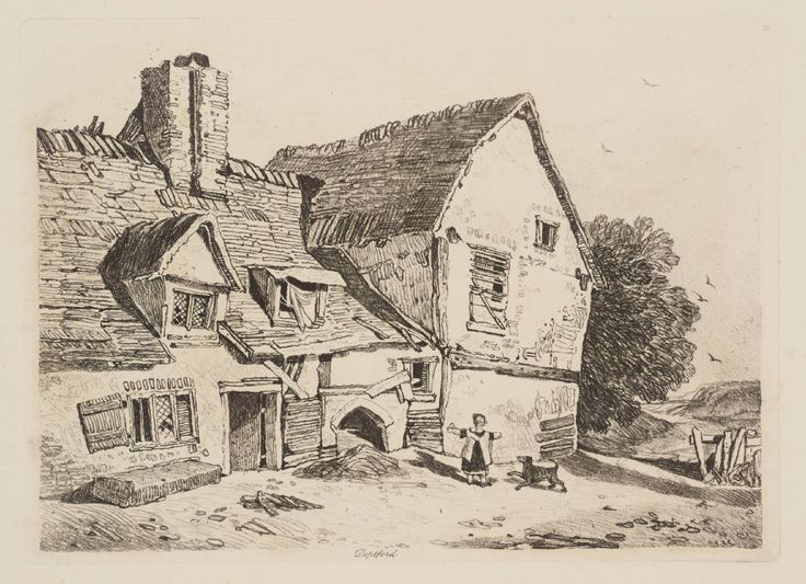 The etching 'View at Deptford' was sketched by the artist John Sell Cotman (1788-1842). The contemporary of Turner was born in Norwich and later taught drawing at King's College School in London, with his pupils include Dante Gabriel Rossetti.