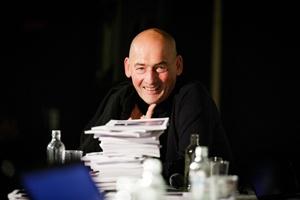 Wiehiew! A smiling Rem Koolhaas!