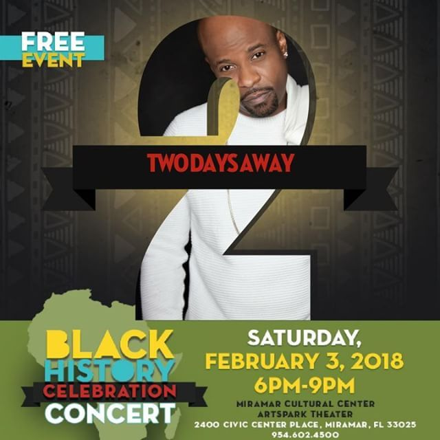 We are ready for our Black History Celebration in 2 DAYS #RightHereInMiramar! The concert featuring Case #GrammyWinner Regina Belle Deep Fried Funk Band will be at Miramar Cultural Center  Artspark. Get your ticket voucher at the link below.  http://ift.tt/2E7uAE4