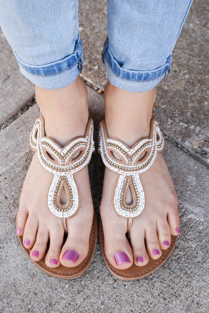 Metallic Dainty Beading Detail Flat Sandals Athena-1118A – UOIOnline.com: Women's Clothing Boutique