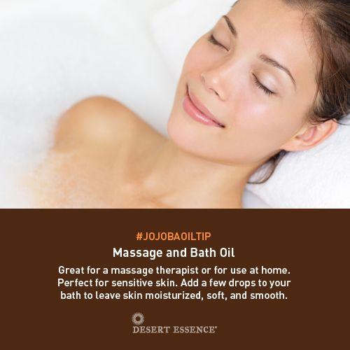 Jojoba Oil as a Massage and Bath Oil for sensitive skin #jojobaoiltip
