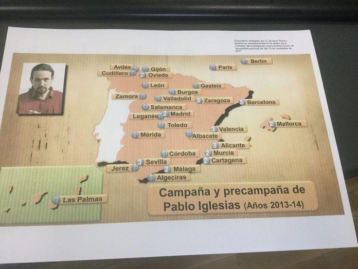 El Senado confirma que la única 'prueba' de Riobóo e Inda sobre la financiación de Podemos es un mapa de España