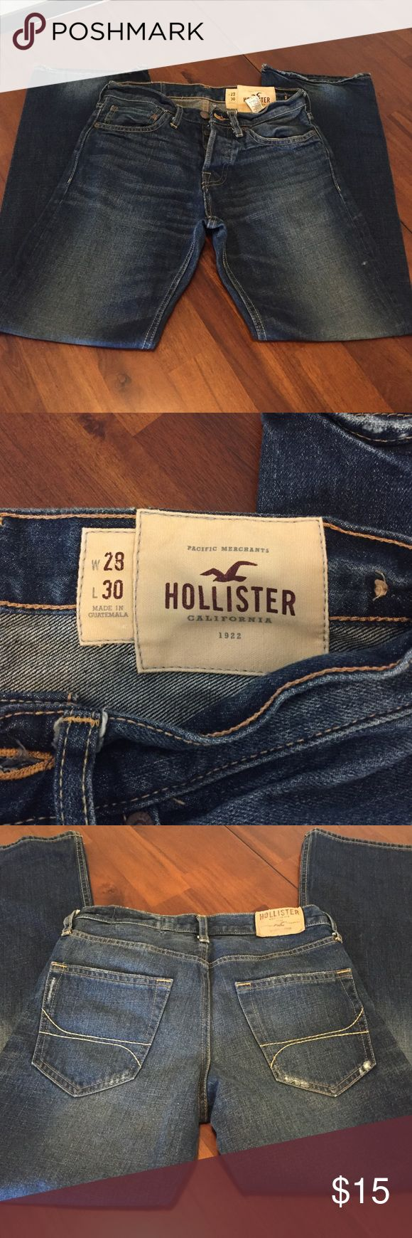 Hollister Low-rise Bootcut Denim Jeans Great condition! Slight wear at lower heel as pictured. 28W x 30L. Low-rise Bootcut. 100% cotton. These are men's Hermosa style. Hollister Jeans Bootcut