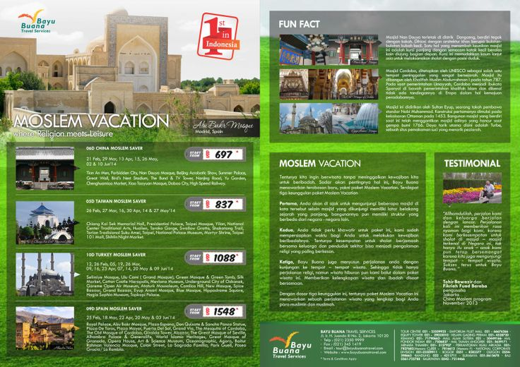 Bayu Buana Moslem Vacation. Experience unique religious tour and leisure at one complete package. Choose your favorite destinations, China, Taiwan, Turkey and Spain. Call us now on 021 2350 9999 or email us for details itinerary at cs@bayubuanatravel.com or cs2@bayubuanatravel.com