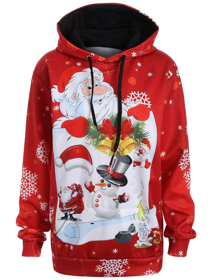 Plus Size Kangaroo Pocket Snowman Christmas Hoodie in Red | Sammydress.com