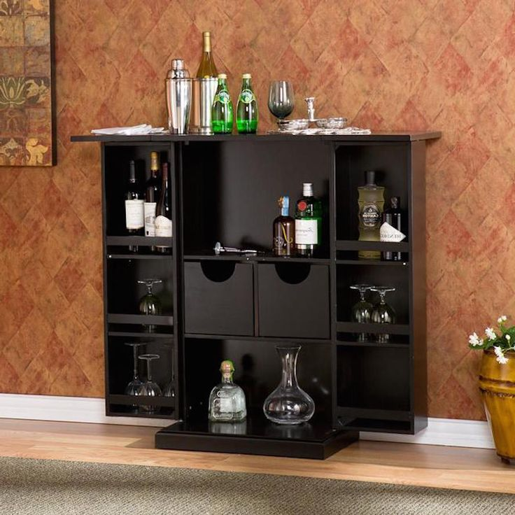 Liquor Storage Cabinet Home Bar Furniture Drinks Office Mini Bar Folds Wine  Rack