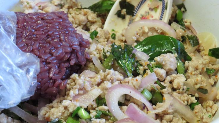 Larb Moo with purple sticky rice