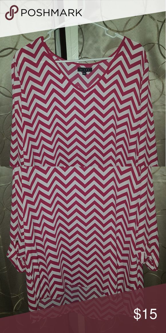 Size xxl chevron shirt Chevron blouses shirt never worn good condition. Tops Blouses