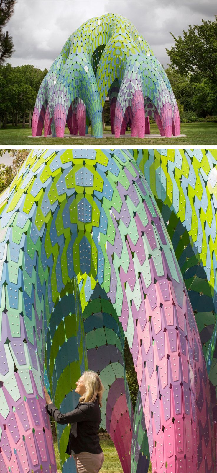 Commissioned by The Edmonton Arts Council to design a permanent sculpture in Borden Park in Edmonton, Canada, MARC FORNES / THEVERYMANY has created Vaulted Willow, a colorful digitally fabricated public art installation made up of over 721 aluminum pieces.