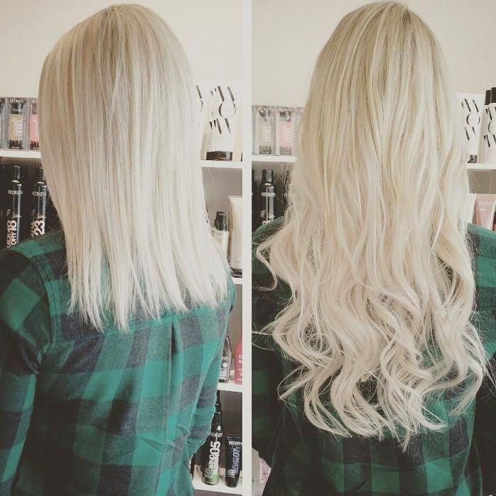 Chica antes y después de una transformación en su cabello de platinado y corto a platinado y largo