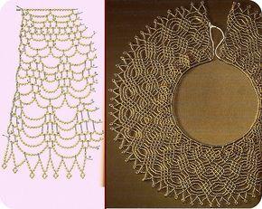 Gráfico de maxi colar entrelaçado de miçangas