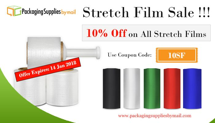 SAVE 10% on all of our stretch film products for a limited time only!! #packaging #shipping #stretchwrap #packingtape #freeshipping #offer #sale #medical @ https://www.packagingsuppliesbymail.com/stretch-wrap