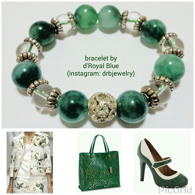 What do you think about this combination? *i only make the bracelet. Other pics i found at #pinterest #green #hijau #gelang #bracelet #aksesoris #jewelry #semiprecious #perhiasan