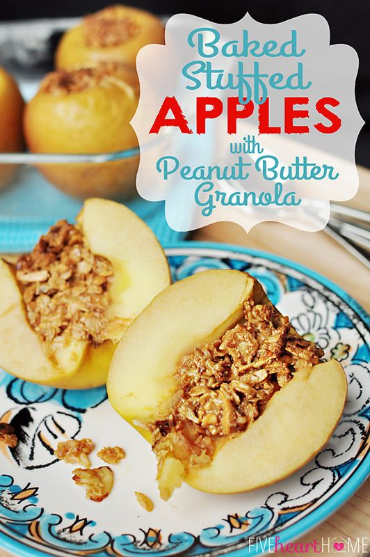 Baked Stuffed Apples w/ Peanut Butter Granola. This would be delicious with Udi's GF Vanilla Granola!Apples And Peanutbutter, Stuffed Apples, Peanut Butter Granola, Baking Stuffed, Healthy Dessert, Apples Breakfast, Baking Apples, Healthy Baked Apple, Granola Recipe
