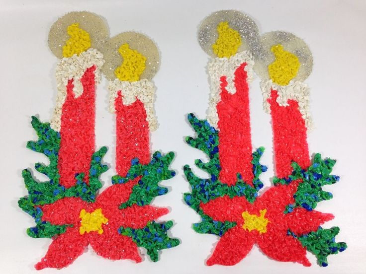"Vintage Melted Plastic Popcorn Christmas Decorations 23"" Glowing Candles & Holly"
