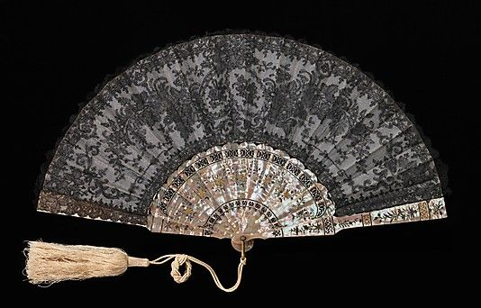Fan Made of Mother-Of-Pearl, Ivory, Silk, Metal And Glass - French c.1870-1879 The Metropolitan Museum Of Art