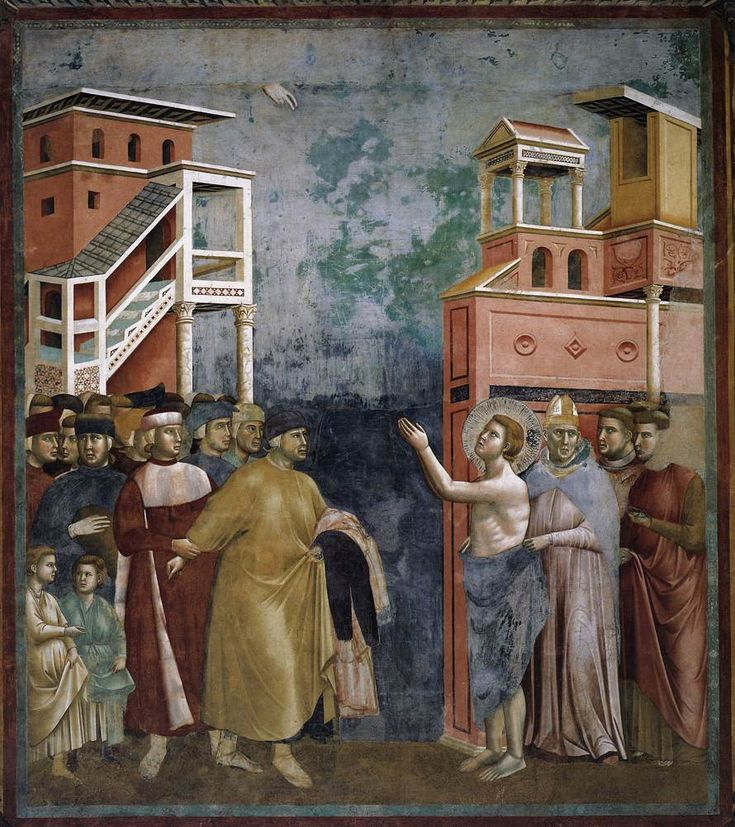 Circle of Giotto, Saint Francis Renounces His Father, fresco from the upper church, San Francesco, Assisi