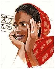 MOUMNA - Titouan Lamazou    Commerçante, Moumna réussit à subvenir à ses besoins sans dépendre de personne. « Que Dieu fasse de moi une grande commerçante ! »  Mauritanie, 15e voyage du projet Femmes du Monde, 2007.    Edition Limitée : Femmes du Monde, signées et numérotées de 1 à 111,  Format : 55 x 65 cm.