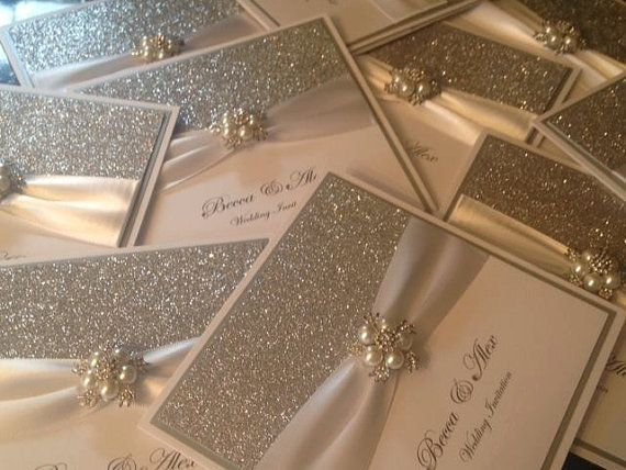 Handmade Luxury Wedding Invitation The Glitzy Crystal pocketfold sample  Love this but remove the crystals and pearls