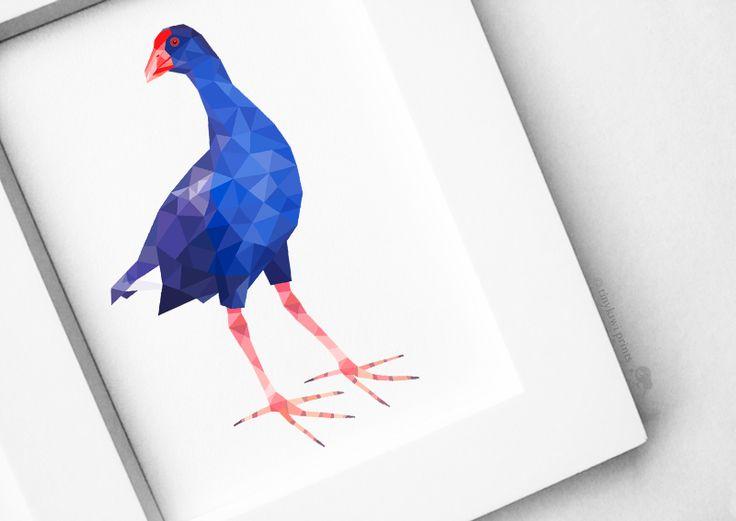 New Zealand Pukeko, Geometric print, Original illustration, Animal print, Minimal art, Nursery wall art | Felt