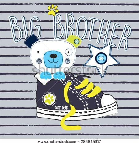cute teddy bear big brother, T-shirt design vector illustration