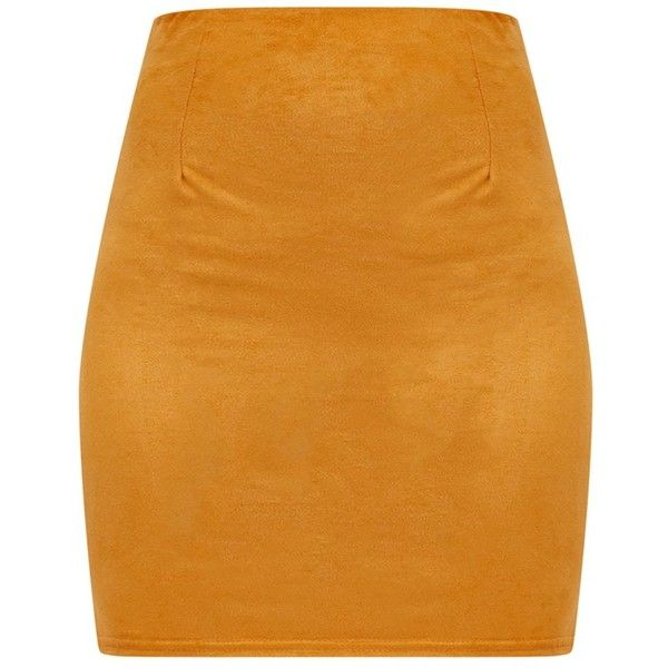 Lauree Grey Faux Suede Mini Skirt ($18) ❤ liked on Polyvore featuring skirts, mini skirts, mustard yellow skirt, mustard mini skirt, short skirts and mustard skirts