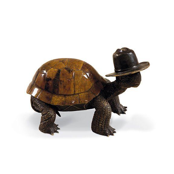 Maitland Smith 1058 284 Highlighted Dark Bronze Patina Brass Turtle with Tiger   eBay