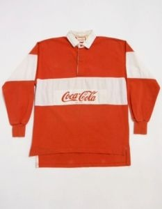 Vintage 80s Coca Cola Red White Heavy D Long Sleeve Rugby Shirt M F1