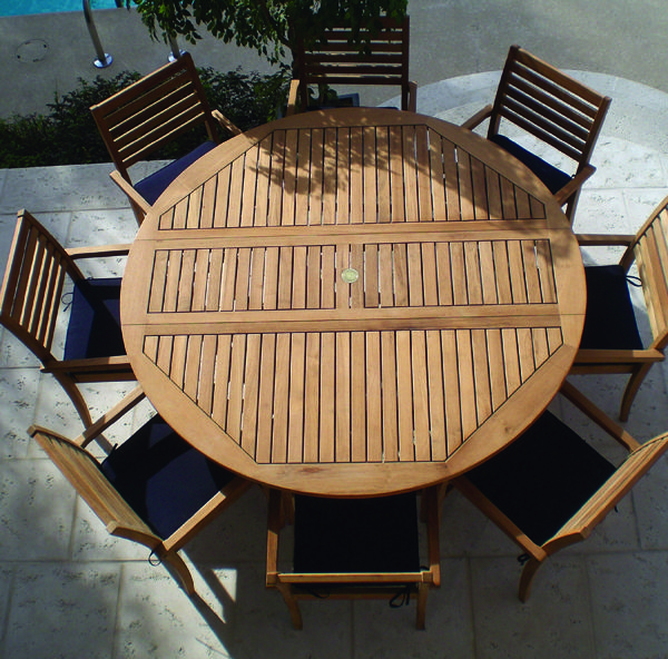 Round Wooden/metal Patio Table | Royal Teak Round Drop Leaf Patio Dining  Table Available