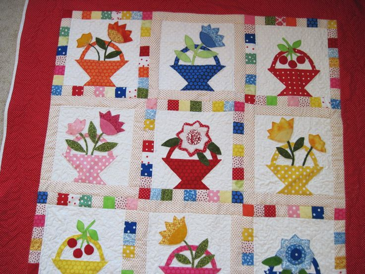 Quilted wall hanging lap quilt throw quilt flower basket applique quilt by KellettKreations on Etsy