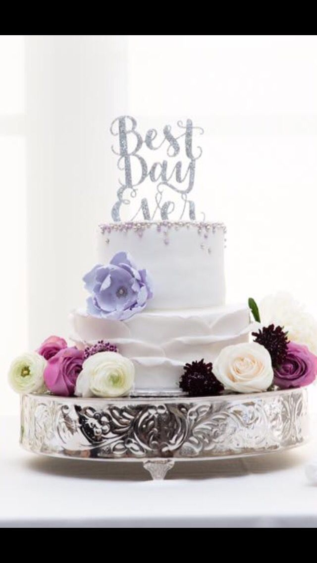 Spring cake, purple and silver cake, floral cake