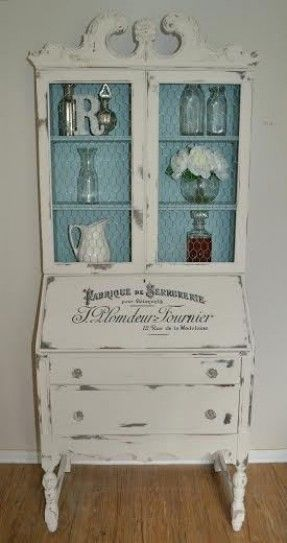old secretary cabinet painted French blue and white with stenciled words; makeover, redo;