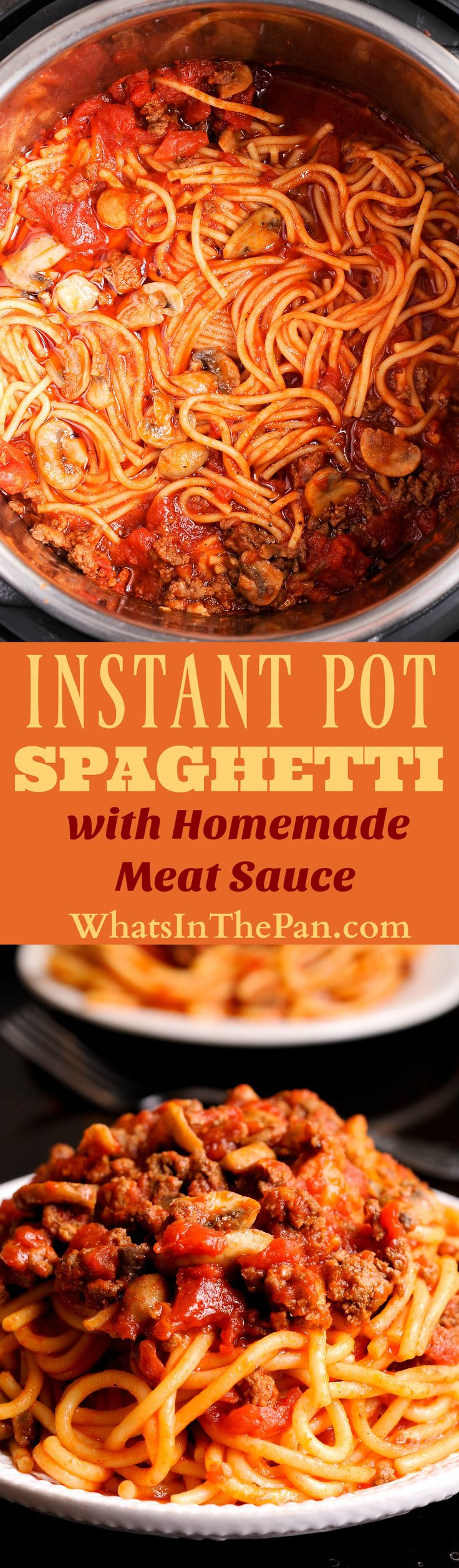 Instant Pot Spaghetti with Meat Sauce recipe with the homemade meat sauce is an easy and balanced meal that your family will love! Detailed instructions on how to use your Instant Pot in this recipe are included. #instantpot #dinner #onepot #easydinner #spaghetti