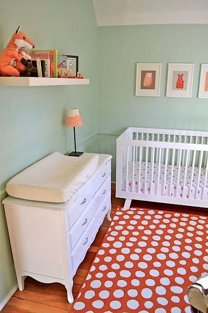 coral and mint baby nursery babyletto crib                                                                                                                                                                                 More