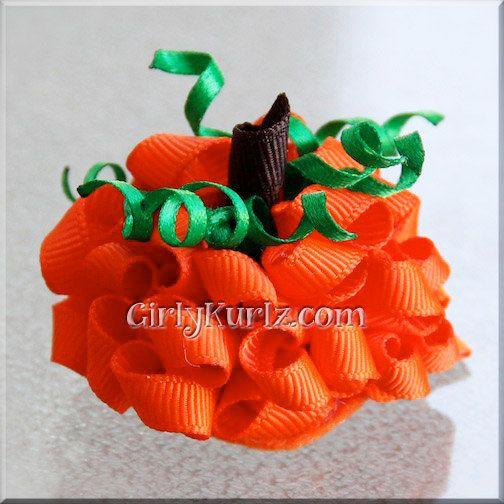 MINI Pumpkin Hair Bow Halloween Hair Bow Fall Hair por GirlyKurlz