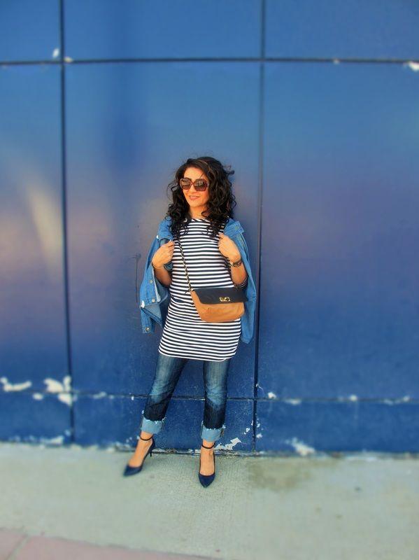 Joe Fresh Dress/// Guess Jeans/// Elie Tahari Shoes/// Lanvin Bag/// Burberry Glasses/// Forever21 Jacket. Well Put Together Blog