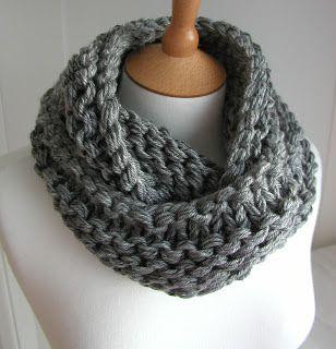 Steel Grey Chunky Circular Scarf Free Knitting Pattern