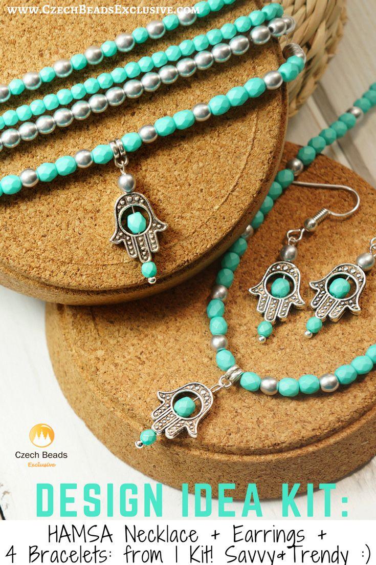 Hamsa Jewelry with Czech Glass Beads | SAVE it! | CzechBeadsExclusive.com #czechbeadsexclusive #czechbeads